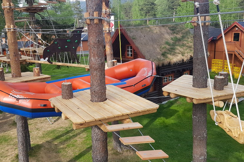 Raft Base in Norway is expanding its outdoor center with an adventurous ropes course in trees. Grand Opening 07.07.2018